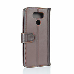 For LG G6 Card Holder Wallet Flip Case Full Body Case Solid Color Hard Genuine Leather for LG