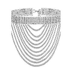 Damskie Naszyjniki choker Rhinestone Line Shape Pozłacane Imitacja diamentu Modny Gold Silver Biżuteria NaImpreza Specjalne okazje
