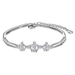 Dames Armbanden met ketting en sluiting Modieus Zirkonia Verzilverd Kroonvorm Wit Licht Paars Sieraden VoorBruiloft Feest Speciale