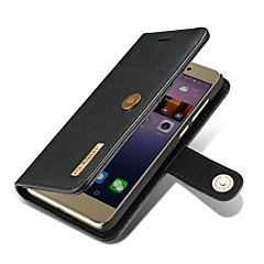 Huawei P8 lite (2017) burkolata kártya tartó pénztárca állvánnyal Flip mágneses testes egyszínű nehéz valódi bőr