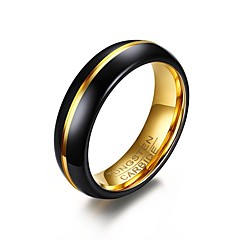 Men's Ring Basic Fashion Personalized Euramerican Simple Style Gold Plated Tungsten Steel Circle Round Geometric Jewelry ForParty