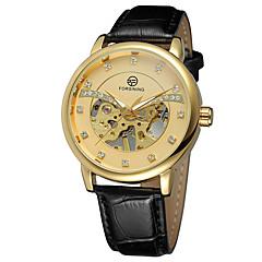 Damskie zegarek mechaniczny Kwarc japoński Grawerowane Skóra Pasmo Na co dzień Elegancki Czarny