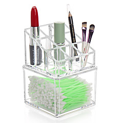 Acrylic Transparent Complex Combined 2 Layer Makeup Brush Pot Cosmetics Storage Stand Cotton Pads Swab Container Cosmetic Organizer Box 2PCS Set