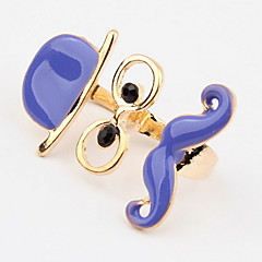Korean Style Hip-Hop fashion Adorable Exaggerated Beard Grandfather Joker Women's  Cuff  Double   Ring Gift Jewelry