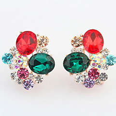 Euramerican Delicate Luxury Flower Rhinestone Multicolor Women's Daily Party Clip Earrings Gift Jewelry