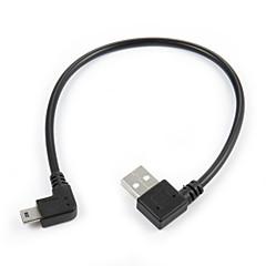 mini usb 5pin 90 asteen suorakulmaisen uros vasemmalle USB 2.0 uros tietojen latausjohto 20cm