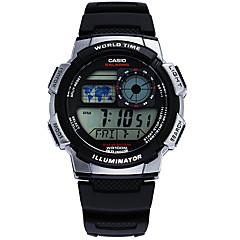 Casio Hommes Montre de Sport Japonais Quartz LED Calendrier Etanche Chronomètre Caoutchouc Bande Pour tous les jours Gris