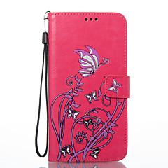 Do huawei p8 lite (2017) p10 lite pokrowiec na kwiaty motyl wzór pu materiał na karty stent portfel telefon sprawa honor 8 p8 lite p9 lite