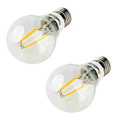 YouOKLight 2PCS E26/E27 5W 400LM AC85-265V 4*COB LEDs Warm White 3000K Globe Bulbs Edison LED Filament Light