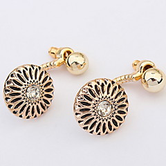 Euramerican Vintage Round Classic Joker Alloy Elegant  Flower Earrings Lady Daily Movie Jewelry
