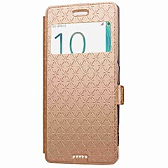 For Sony Xperia XZ X Compact Case Cover Card Holder with Stand with Windows Flip Case Solid Color Geometric Pattern Hard PU Leather for Sony Xperia XA