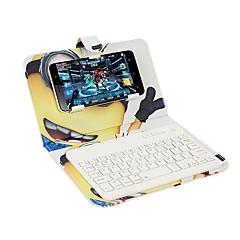 Voor case cover met standaard toetsenbord flip patroon full body case cartoon hard pu leer voor universele iphone 7 7plus 6s 6 bluetooth
