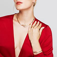Női Ékszer készlet Fülbevaló Karkötő Gyűrű Alap Egyedi Divat Európai minimalista stílusú jelmez ékszerek Strassz Ötvözet Circle Shape