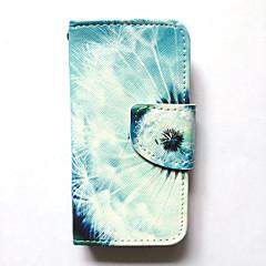 Kotelo omena iphone 4s / 4 kotelon kannessa kortin haltija lompakko seistä flip kuvio koko kehon tapauksessa dandelion kova pu nahka
