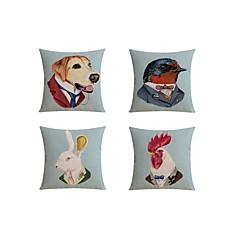 4.0 kpl Pellava Tyynyliina Tyynynpäälinen Sänkytyyny Body-tyyny Matkatyyny sohva tyyny,Erikoiskuvio Eläimet EnglantilainenTaiteellinen