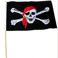 Halloween puolueen suorituskyky rekvisiitta 30 * 45 kanssa sauva merirosvo lippu punainen huivi merirosvo kallo merirosvo lippu