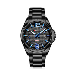 Hombre Reloj de Vestir Reloj de Moda Chino Cuarzo Acero Inoxidable Banda Casual Negro Plata