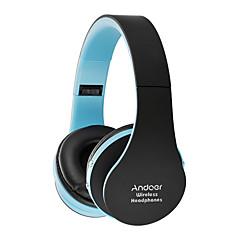 Andoer foldbare bluetooth hovedtelefoner stereo bluetooth 3,0 super bas headset 3,5 mm kablet øretelefon håndfri w / mic hvid med rød til