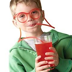2szt okulary słoma śmieszne miękkie okulary słoma unikalny elastyczny rurka do picia słomki dla dzieci bar accesso (kolor przypadkowy)