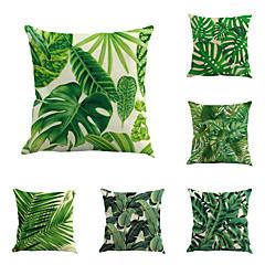 6 szt Cotton / Linen Pokrywa Pillow Poszewka na poduszkę,Liście drzew / Nowość Klasycznyקלאסי Retro Tradycyjny / Classic Euro
