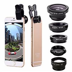아이폰 7 6 / 6s 플러스를위한 5-in-1 세트 물고기 눈 광각 marco 망원 렌즈 cpl 렌즈