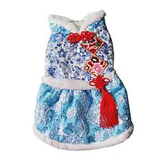 Σκύλος Φορέματα Ρούχα για σκύλους Καθημερινά Κεντητό Φούξια Μπλε Μπλε Απαλό