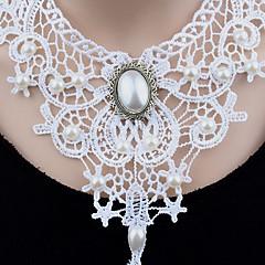 Dame Kort halskæde Halskædevedhæng Erklæring Halskæder Imiteret Perle Cirkelformet Rund form Enkelt design Unikt design Hængende Imiteret