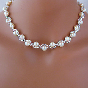 Collana di fili - Perle finte Bianco Collana Gioielli Per Matrimonio, Feste, Quotidiano, Casual