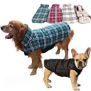 Cane Cappottini Gilè Abbigliamento per cani A quadri Beige Marrone Rosso Verde Cotone Costume Per animali domestici Per uomo Per donna