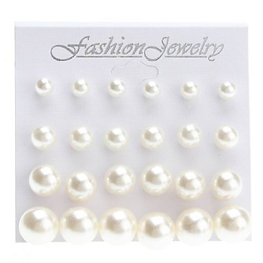 Shining Pearl Earrings Stud Earrings Jewelry Set Simple (Contain 12 Pairs)(6/8/10/12mm)