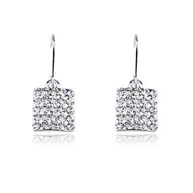 Korean Fashion Drill Square Alloy Drop Earrings