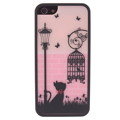 Lovely Cat and Birdcage Pattern 2 in 1 Bumper and Back Case for iPhone 5/5S