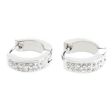 Hoop Earrings Stainless Steel Rhinestone Birthstones Silver Jewelry Party Daily