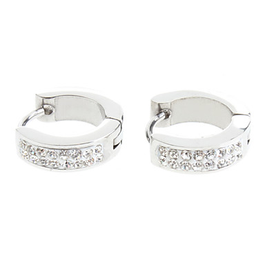 Earring Hoop Earrings Jewelry Women Birthstones Party / Daily Stainless Steel Silver