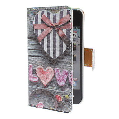 Heart Shaped Gift Case Pattern PU Full Body Case with Card Slot for iPhone 4/4S