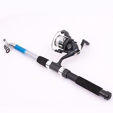 2.1m  Portable Telescope Spinning Fishing Rod Set 3 Ball Bearings 0.3mm/90m Line 5.2:1 Gear Ratio