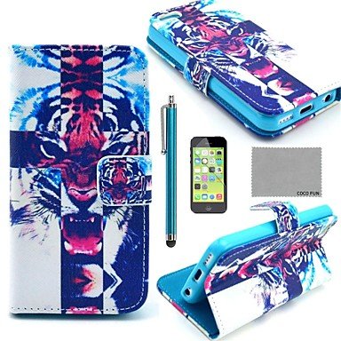COCO FUN Fierce Tiger Pattern PU Leather Full Body Case with Screen Protector, Stylus and Stand for iPhone 5C