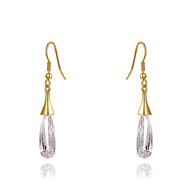 18K Rose Gold Plated Jewelry Use Shining Clear Austria Crystal Waterdrop Earrings
