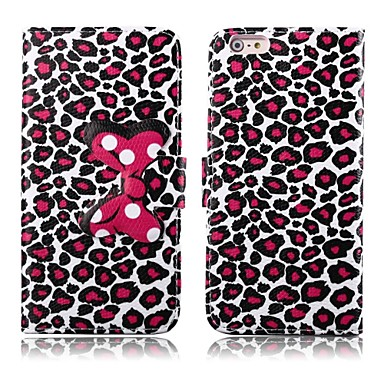 Attractive Leopard Print Pattern PU Leather Full Body Cover with Stand for iPhone 6 Plus