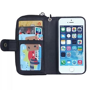 Zipper Wallet Muster-echtes Leder mit Einbauschlitz für iPhone 5 / 5S
