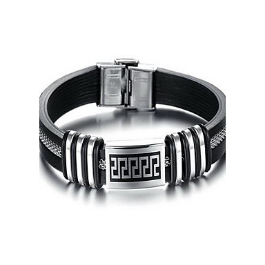 Fashion Delicacy Men's Black and Silver Alloy Leather Bracelet(1 Pc)