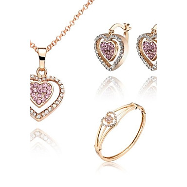 ZX European Style 18K Gold Plated Heartshaped Necklace Earrings And Bracelets Jewelry Set (1 set)