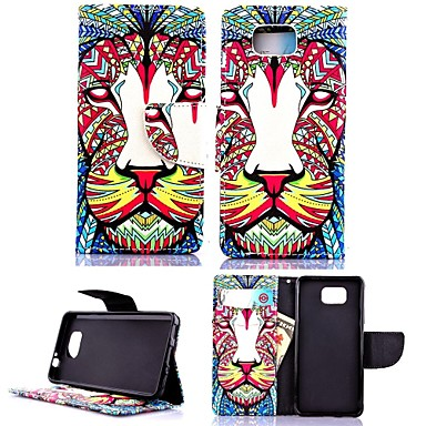 KARZEA ™ Lion Tribe PU-Leder TPU Ganzkörper-Fall-Malerei-Karte-Halter-Mappen-Kasten für Samsung Alpha G850F