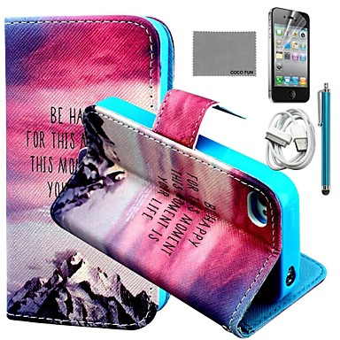 COCO FUN Hill Sunset Pattern PU Leather Case with Screen Protector and USB Cable and Stylus for iPhone 4/4S