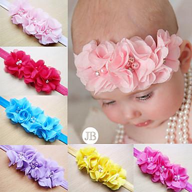 children kids baby girls pearl diamond 3 flowers headband