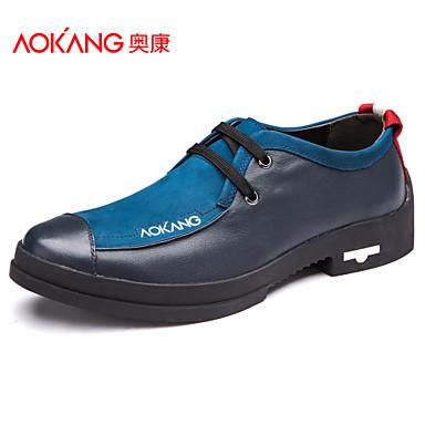Aokang Мужская обувь Открытый / Спортивный / Повседневная Кожа Мода кроссовки синий / Бургундия