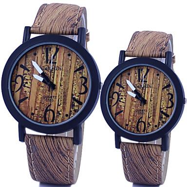 Couple's Watch Vintage Wooden Surface Quartz PU Band Cool Watches Unique