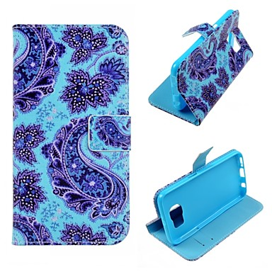 Blaue Blumen-Entwurf PU-Leder-Kasten für Samsung-Galaxie-S5 / S5Mini / S6 / S6 Rand / S6 Edge-Plus-