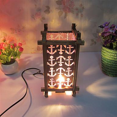 Kreativ tre gitteret lampe container dekorasjon bordlampe soverom ...