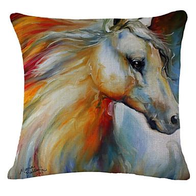 Painting Horse Pattern Linen Pillowcase Sofa Home Decor